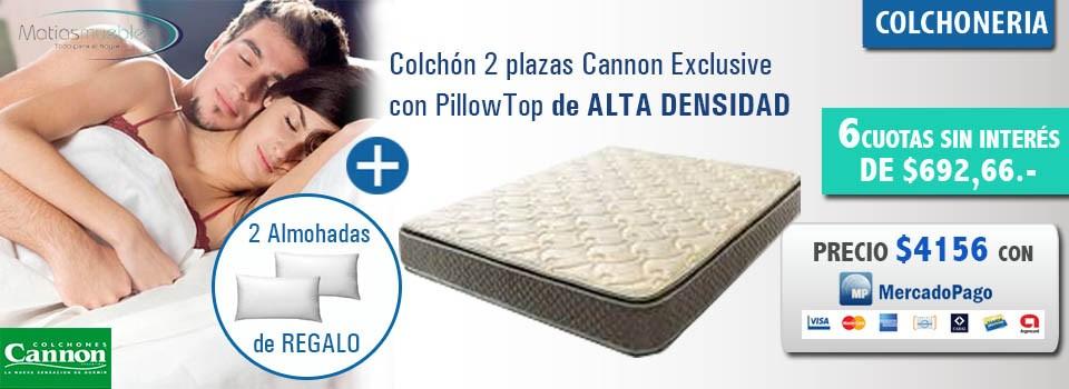 Colchon 2 plazas Cannon Exclusive con Pillow top con 2 almoadas de regalo