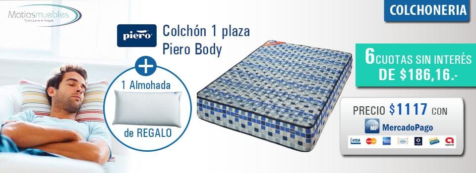 Colchón 1 plaza Piero Body con almohada de regalo