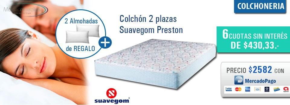 Colchon 2 plazas Suavegom Preston con 2 almohadas de regalo