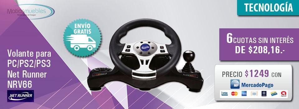 Volante para PC/PS2/PS3 Net Runner NRV66